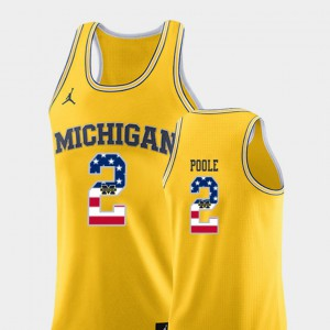 Michigan #2 Men's Jordan Poole Jersey Yellow College Basketball USA Flag Stitched 764479-841