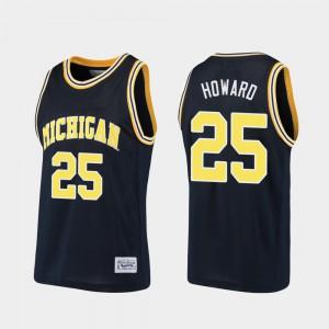 Michigan #25 For Men's Juwan Howard Jersey Navy Basketball Alumni Embroidery 896397-309