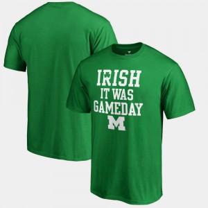 Michigan Mens T-Shirt Kelly Green Irish It Was Gameday St. Patrick's Day Embroidery 562295-666