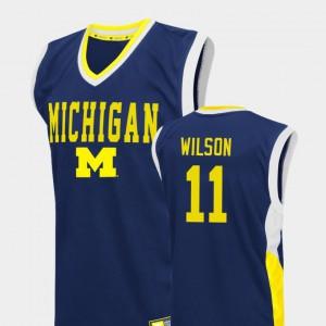 Michigan Wolverines #11 For Men Luke Wilson Jersey Blue College Basketball Fadeaway NCAA 522556-237