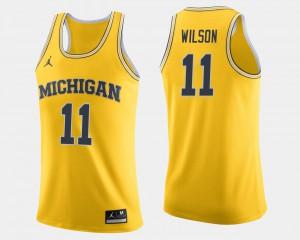 Michigan #11 For Men Luke Wilson Jersey Maize University College Basketball 874932-212