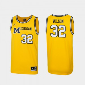 U of M #32 For Men's Luke Wilson Jersey Maize Stitched 1989 Throwback College Basketball Replica 514362-140