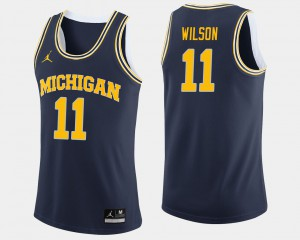 Michigan #11 Mens Luke Wilson Jersey Navy Embroidery College Basketball 367702-777