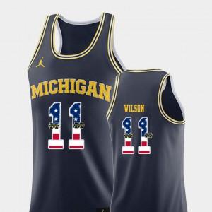 Michigan #11 For Men's Luke Wilson Jersey Navy College Basketball USA Flag Alumni 771568-954