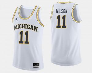 University of Michigan #11 For Men's Luke Wilson Jersey White College Basketball University 398249-927