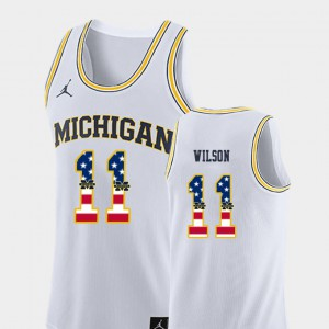 U of M #11 Men's Luke Wilson Jersey White Official College Basketball USA Flag 251137-327