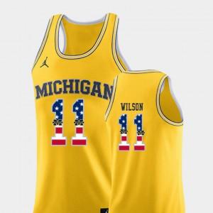 Michigan Wolverines #11 Men's Luke Wilson Jersey Yellow Stitched College Basketball USA Flag 402976-293