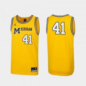 Wolverines #41 Mens Jersey Maize 1989 Throwback College Basketball Replica Official 517876-361