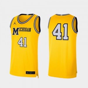 U of M #41 For Men Jersey Maize College Basketball Retro Limited NCAA 445745-648