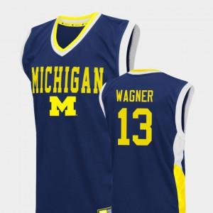 Wolverines #13 For Men's Moritz Wagner Jersey Blue High School College Basketball Fadeaway 618540-931
