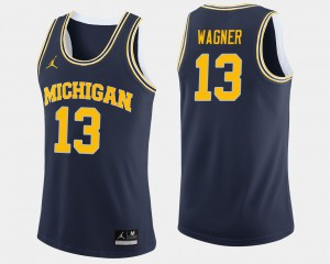 Michigan Wolverines #13 For Men Moritz Wagner Jersey Navy College College Basketball 700392-603