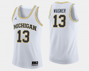 Michigan #13 For Men's Moritz Wagner Jersey White High School College Basketball 323526-841