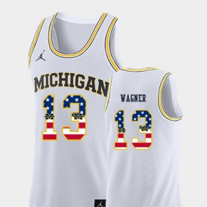 U of M #13 For Men Moritz Wagner Jersey White Stitched USA Flag College Basketball 757664-660