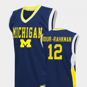 Michigan Wolverines #12 For Men's Muhammad-Ali Abdur-Rahkman Jersey Blue College Basketball Fadeaway Stitched 419195-406