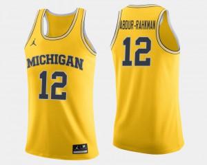Michigan #12 Men's Muhammad-Ali Abdur-Rahkman Jersey Maize University College Basketball 480225-399