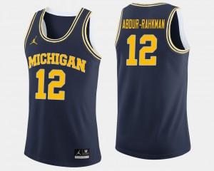 Michigan #12 For Men's Muhammad-Ali Abdur-Rahkman Jersey Navy College College Basketball 682436-957
