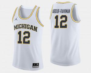 Wolverines #12 Men's Muhammad-Ali Abdur-Rahkman Jersey White Stitch College Basketball 938651-481