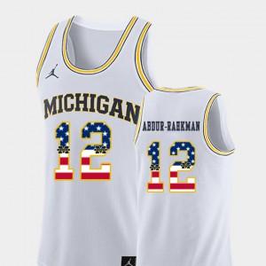 Wolverines #12 For Men's Muhammad-Ali Abdur-Rahkman Jersey White NCAA College Basketball USA Flag 998060-728