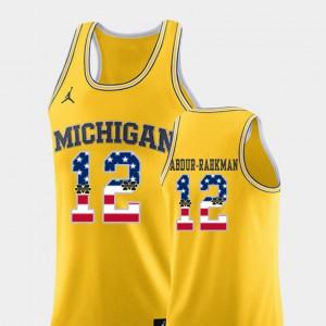 University of Michigan #12 Mens Muhammad-Ali Abdur-Rahkman Jersey Yellow College Basketball USA Flag NCAA 454941-370