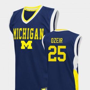 Michigan #25 For Men Naji Ozeir Jersey Blue College Basketball Fadeaway NCAA 151162-770
