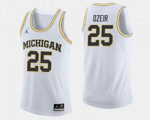 Michigan #25 For Men's Naji Ozeir Jersey White College College Basketball 632361-682