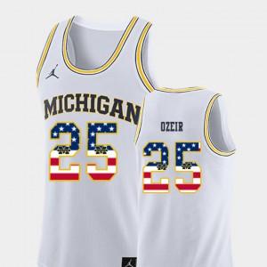 U of M #25 For Men Naji Ozeir Jersey White Official College Basketball USA Flag 267807-578