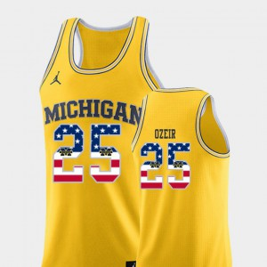 Michigan #25 Mens Naji Ozeir Jersey Yellow High School College Basketball USA Flag 682497-756