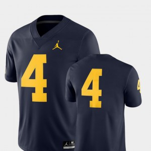 Michigan Wolverines #4 Men Jersey Navy Stitched 2018 Game College Football 331923-285