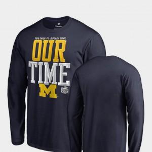 Michigan For Men T-Shirt Navy University Counter Long Sleeve 2018 Peach Bowl Bound 573486-564