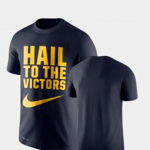 University of Michigan Men's T-Shirt Navy Performance Legend Franchise Stitch 802547-495
