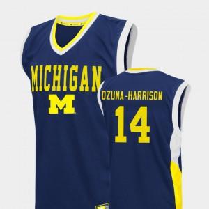University of Michigan #14 Men's Rico Ozuna-Harrison Jersey Blue College Basketball Fadeaway Player 683339-754
