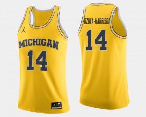Michigan Wolverines #14 For Men's Rico Ozuna-Harrison Jersey Maize Stitched College Basketball 517633-731