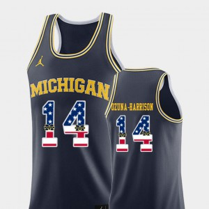 Michigan #14 Mens Rico Ozuna-Harrison Jersey Navy Embroidery USA Flag College Basketball 341534-205