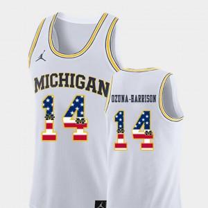 Michigan Wolverines #14 For Men's Rico Ozuna-Harrison Jersey White Stitch USA Flag College Basketball 961461-333