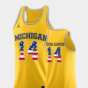 U of M #14 Men Rico Ozuna-Harrison Jersey Yellow College Basketball USA Flag Official 954794-747