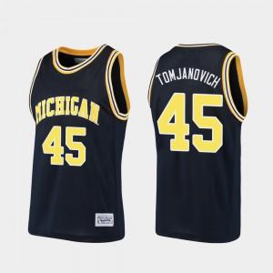 Michigan #45 For Men Rudy Tomjanovich Jersey Navy Embroidery Basketball Alumni 473200-347