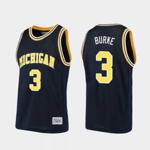 University of Michigan #3 For Men's Trey Burke Jersey Navy Alumni Alumni Basketball 413203-889