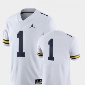 Michigan Wolverines #1 Men's Jersey White College College Football 2018 Game 760845-802