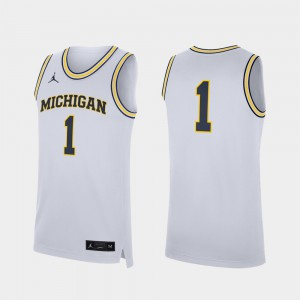 U of M #1 Men's Jersey White College Basketball Replica High School 502039-415