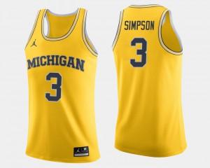 Wolverines #3 Men's Zavier Simpson Jersey Maize NCAA College Basketball 820310-703