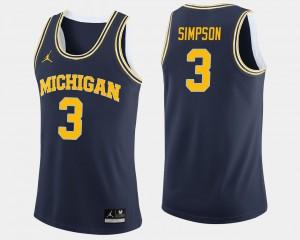 U of M #3 For Men Zavier Simpson Jersey Navy High School College Basketball 285810-273