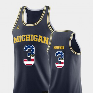Michigan Wolverines #3 For Men Zavier Simpson Jersey Navy Alumni College Basketball USA Flag 549942-917