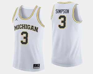 Michigan #3 Mens Zavier Simpson Jersey White NCAA College Basketball 706820-439