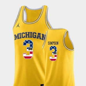 Michigan Wolverines #3 Men Zavier Simpson Jersey Yellow Official College Basketball USA Flag 584314-250