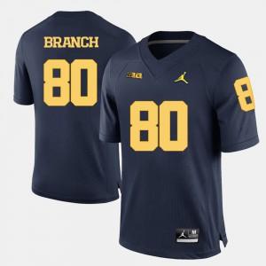Wolverines #80 Men's Alan Branch Jersey Navy Blue Stitch College Football 629097-492