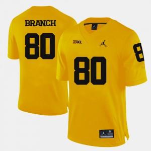 University of Michigan #80 For Men's Alan Branch Jersey Yellow University College Football 635319-585