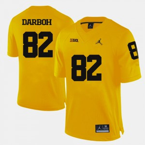 Michigan Wolverines #82 Mens Amara Darboh Jersey Yellow Embroidery College Football 547388-841