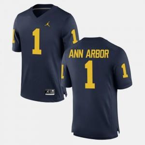 University of Michigan #1 Men's Ann Arbor Jersey Navy Embroidery Alumni Football Game 605901-776