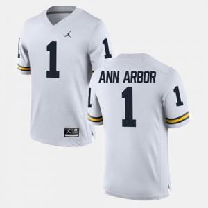 Michigan Wolverines #1 Mens Ann Arbor Jersey White Stitched Alumni Football Game 207424-819