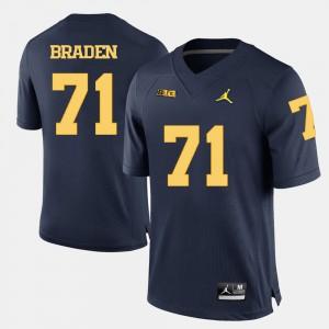 Michigan #71 For Men's Ben Braden Jersey Navy Blue High School College Football 723649-888